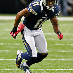 October 7, 2012; New Orleans, LA, USA; San Diego Chargers wide receiver Eddie Royal (11) against the New Orleans Saints during the second half of a game at the Mercedes-Benz Superdome. The Saints defeated the Chargers 31-24. Mandatory Credit: Derick E. Hingle-US PRESSWIRE