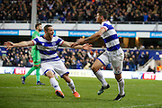 Queens Park Rangers striker Conor Washington (9) and Queens Park Rangers midfielder Pawel Wszolek (15) celebrates his goal (score 2-1) during the EFL Sky Bet Championship match between Queens Park Rangers and Ipswich Town at the Loftus Road Stadium, London, England on 2 January 2017. Photo by Andy Walter.