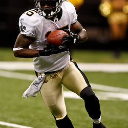August 21, 2010; New Orleans, LA, USA; New Orleans Saints wide receiver Courtney Roby (15) returns a kick during the second half of a 38-20 win by the New Orleans Saints over the Houston Texans during a preseason game at the Louisiana Superdome. Mandatory Credit: Derick E. Hingle