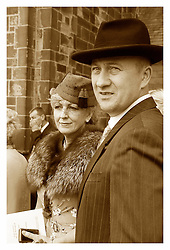1940's Wedding guests Lytham The Bride Kath Plummer and groom Andy Hacking married at Saint John The Divine Church Lytham with Reverend Jack Wixon.19 August 2011  Image © Paul David Drabble