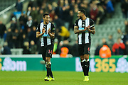 Isaac Hayden (#14) of Newcastle United and Jamaal Lascelles (#6) of Newcastle United applaud the Newcastle supporters following the Premier League match between Newcastle United and Chelsea at St. James's Park, Newcastle, England on 18 January 2020.