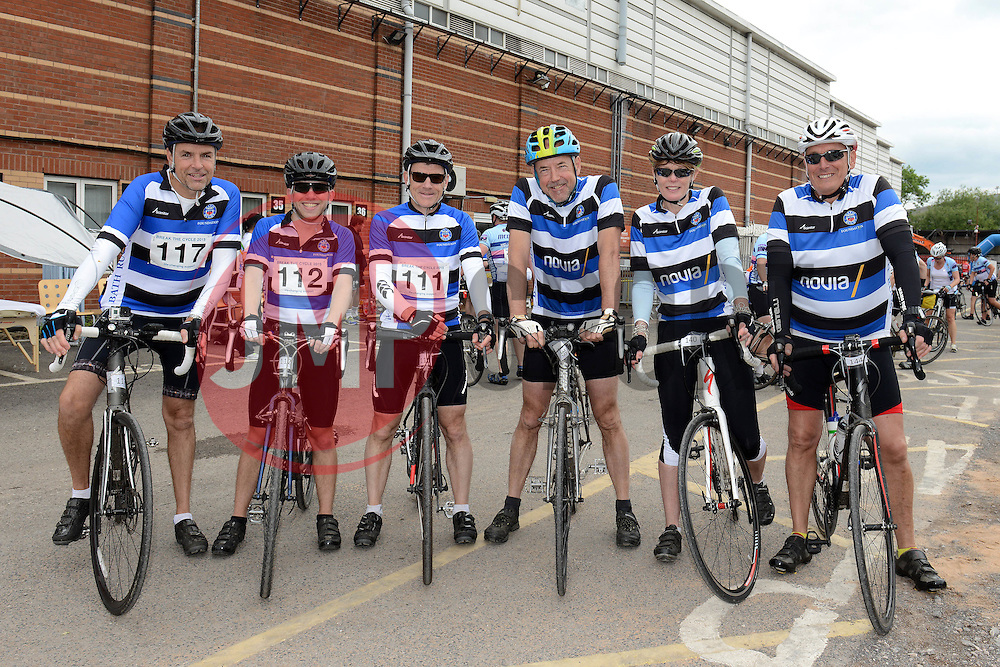 Participants (117, 112, 111, 139, 140, 144) at Ashton Gate take part in Break the Cycle, a 110 mile charity bike ride organised by the Bristol, Bath and Gloucester Rugby Community Foundations, visiting their respective stadia, Ashton Gate, The Recreation Ground and Kingsholm Stadium  - Photo mandatory by-line: Dougie Allward/JMP - Mobile: 07966 386802 - 14/06/2015 - SPORT - Cycling - Bristol - Ashton Gate - Bristol Rugby Community Foundation - Break the Cycle