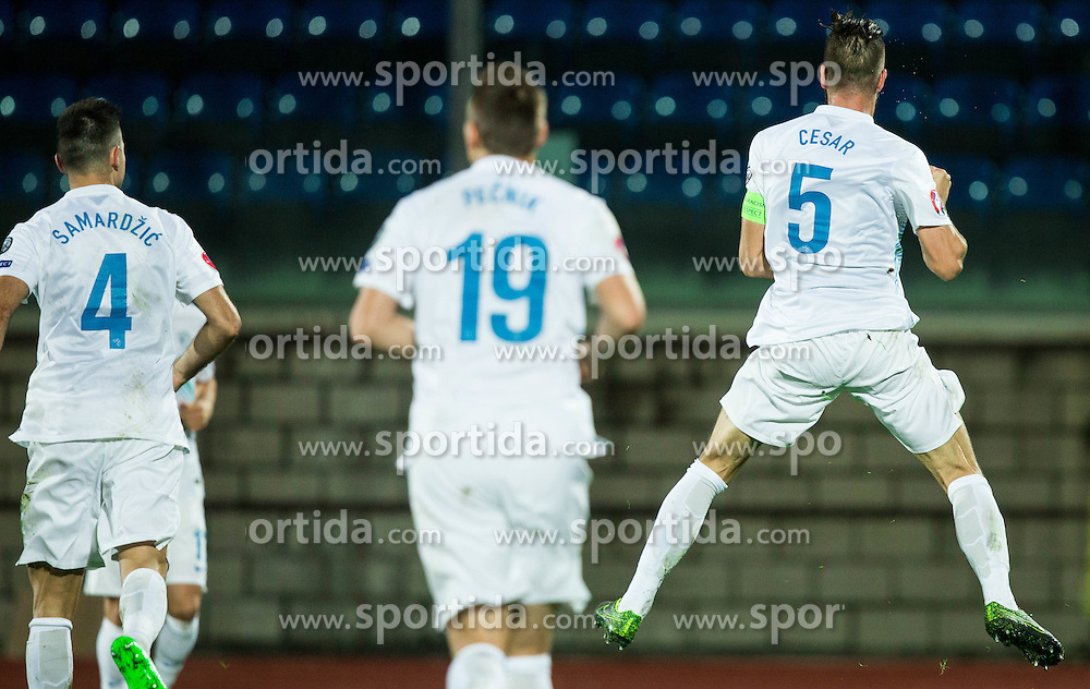 Bostjan Cesar of Slovenia reacts after he scored first goal for Slovenia during football match between National teams of San Marino and Slovenia in Group E of EURO 2016 Qualifications, on October 12, 2015 in Stadio Olimpico Serravalle, Republic of San Marino. Photo by Vid Ponikvar / Sportida