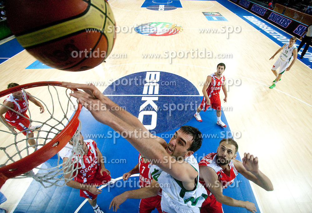 Mirza Begic of Slovenia during basketball match between National teams of Slovenia and Georgia in Group D of Preliminary Round of Eurobasket Lithuania 2011, on September 3, 2011, in Arena Svyturio, Klaipeda, Lithuania. (Photo by Vid Ponikvar / Sportida)