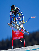 Unites States Ski Team athlete Keith Moffat forerunning the first training run of the Birds of Prey Alpine Skiing World Cup Downhill race at the Beaver Creek Resort in Avon, CO on November 27, 2012.