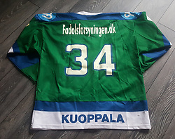 #34 ISMO KUOPPALA, Esbjerg Oilers, Originale 2003-2004 Danske Mester, kamptrøje