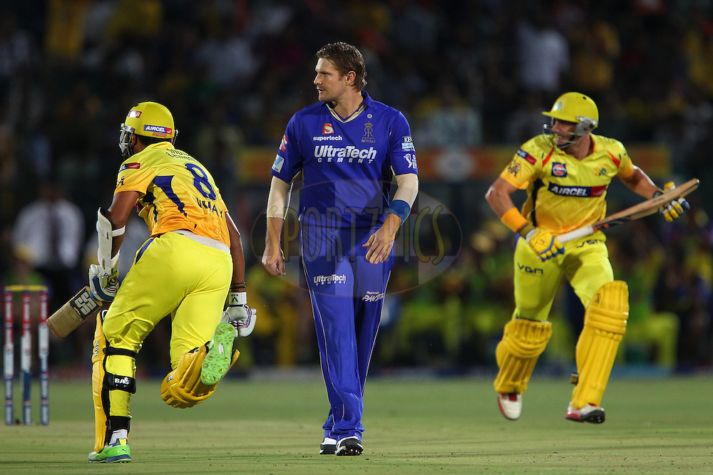 Shane Watson walks back during match 61 of the Pepsi Indian Premier League ( IPL) 2013  between The Rajasthan Royals and the Chennai SUperkings held at the Sawai Mansingh Stadium in Jaipur on the 12th May 2013..Photo by Ron Gaunt-IPL-SPORTZPICS ..Use of this image is subject to the terms and conditions as outlined by the BCCI. These terms can be found by following this link:..http://www.sportzpics.co.za/image/I0000SoRagM2cIEc