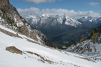 Autumn snow covering peaks of the Pasayten Wilderness. Seen from Easy Pass North Cascades