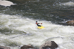Kayak on the river paddling the rapids at Great Falls in Maryland and Virginia