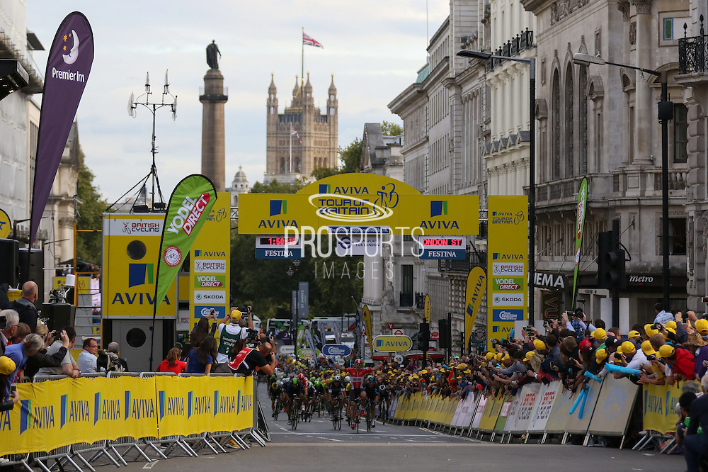 Riders cross the finish line at the London Stage of the Aviva Tour of Britain, Regent Street, London, United Kingdom on 13 September 2015. Photo by Ellie Hoad.