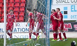 Aberdeen's Ryan Christie (8) cele scoring their first goal. half  time : St Johnstone 0 v 2 Aberdeen. SPFL Ladbrokes Premiership game played 15/4/2017 at St Johnstone's home ground, McDiarmid Park.