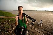 Erin on Amazon River, Peru