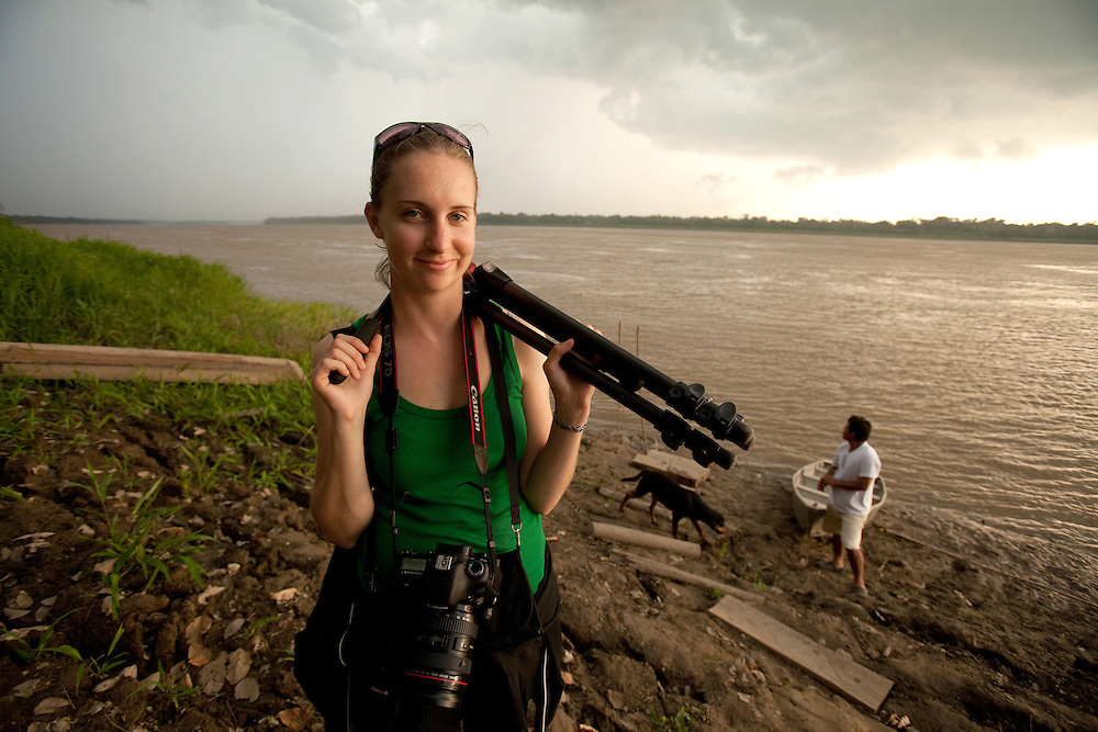 Erin on Amazon River, Peru