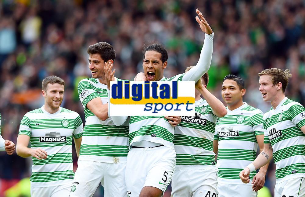 19/04/15 WILLIAM HILL SCOTTISH CUP SEMI-FINAL<br /> INVERNESS CT v CELTIC<br /> HAMPDEN - GLASGOW<br /> Celtic's Virgil Van Dijk (centre) celebrates his goal with his team-mates