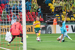 Vykintas Slivka of Lithuania scoring second goal for Lithuania vs Jan Oblak of Slovenia during football match between National teams of Lithuania and Slovenia in Round #1 of FIFA World Cup Russia 2018 qualifications in Group F, on September 4, 2016 in LFF Stadium Vilnius, Lithuania. Photo by Robertas Dackus / Sportida