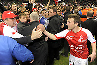FOOTBALL - FRENCH CHAMPIONSHIP 2011/2012 - STADE DE REIMS v AS MONACO   - 07/05/2015 - PHOTO JEAN MARIE HERVIO / REGAMEDIA / DPPI - CELEBRATION ROMAIN AMALFITANO (STR) WITH FANS AT THE END OF THE MATCH AFTER THE VICTORY AND THE ACCESS TO LIGUE 1 FOR NEXT SEASON
