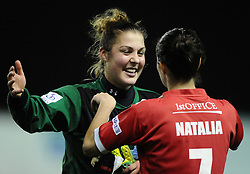 Bristol Academy Womens' Mary Earps and Bristol Academy Womens' Natalia Pablos Sanchon celebrate on the final whistle  - Photo mandatory by-line: Joe Meredith/JMP - Mobile: 07966 386802 - 13/11/2014 - SPORT - Football - Bristol - Ashton Gate - Bristol Academy Womens FC v FC Barcelona - Women's Champions League
