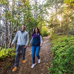 A couple hikes on a trail at Quoddy Head State Park in Lubec, Maine.
