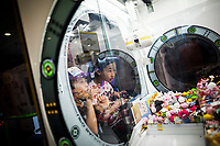 Young children at an arcade in Osaka, Japan.