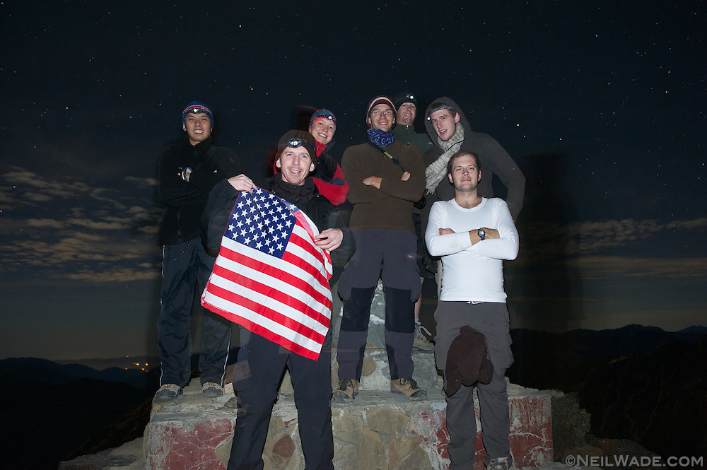 Hiking group photo on Jade Mountain Main Peak, Taiwan.  We were the first group to summit, nearly an hour before sunrise.