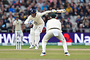 Jason Roy of England is beaten by a delivery from Josh Hazlewood of Australia during the International Test Match 2019, fourth test, day three match between England and Australia at Old Trafford, Manchester, England on 6 September 2019.