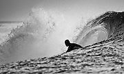Black and White Photograph of surfbreak named Thunders Firing, with Surfer, Mentawai Islands, Indonesia (2006)