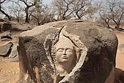 Granite stone carving at the Loango granite sanctuary near the town of Ziniare, Burkina Faso, West Africa..