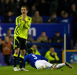 LIVERPOOL, ENGLAND - Thursday, April 17, 2008: Chelsea's Ricardo Carvalho can't believe that a foul has been given after his challenge on Everton's Joleon Lescott during the Premiership match at Goodison Park. (Photo by David Rawcliffe/Propaganda)
