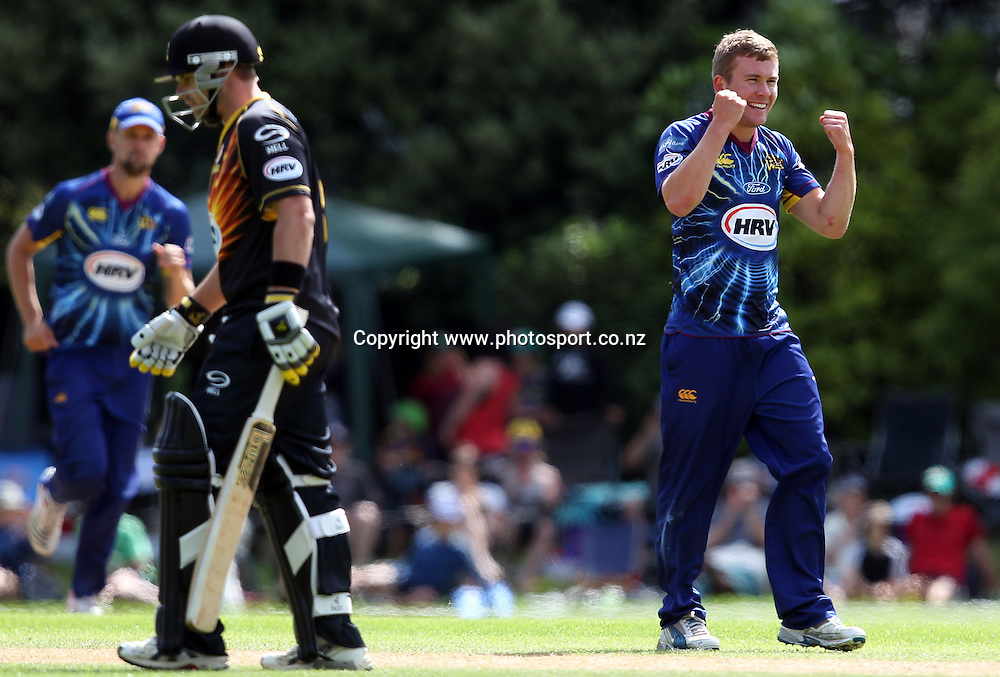 Nick Beard of Otago celebrates taking the wicket of Michael Papps.<br /> Twenty20 Cricket - HRV Cup, SBS Bank Otago Volts v Hell Wellington Firebirds, 23 December 2012, University Oval, Dunedin, New Zealand.<br /> Photo: Rob Jefferies / photosport.co.nz