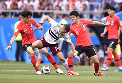 MOSCOW, June 23, 2018  Javier Hernandez (C front) of Mexico competes during the 2018 FIFA World Cup Group F match between South Korea and Mexico in Rostov-on-Don, Russia, June 23, 2018. (Credit Image: © Chen Yichen/Xinhua via ZUMA Wire)