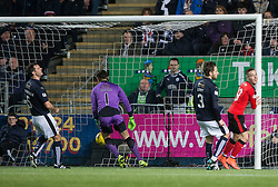 Rangers McKay scoring their second goal. <br /> Falkirk 3 v 2 Rangers, Scottish Championship game player at The Falkirk Stadium, 18/3/2016.
