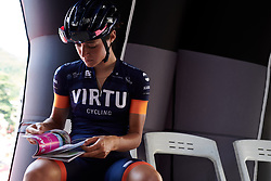Sofia Bertizzolo (ITA) has a final flick through the road book before Stage 8 of 2019 Giro Rosa Iccrea, a 133.3 km road race from Vittorio Veneto to Maniago, Italy on July 12, 2019. Photo by Sean Robinson/velofocus.com