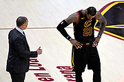 Jun 6, 2018; Cleveland, OH, USA; Cleveland Cavaliers forward LeBron James (23) talks with Cleveland Cavaliers head coach Tyronn Lue during the fourth quarter in game three of the 2018 NBA Finals at Quicken Loans Arena.
