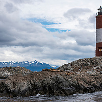 A sightseeing cruise in the Beagle Channel passes by Les Eclaireurs Lighthouse near Ushuaia, Argentina.