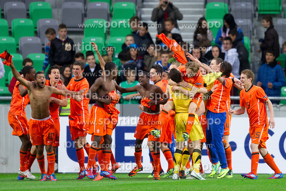 Players of Netherlands celebrate after winning the UEFA European Under-17 Championship Final match between Germany and Netherlands on May 16, 2012 in SRC Stozice, Ljubljana, Slovenia. Netherlands defeated Germany after penalty shots and became European Under-17 Champion 2012. (Photo by Vid Ponikvar / Sportida.com)