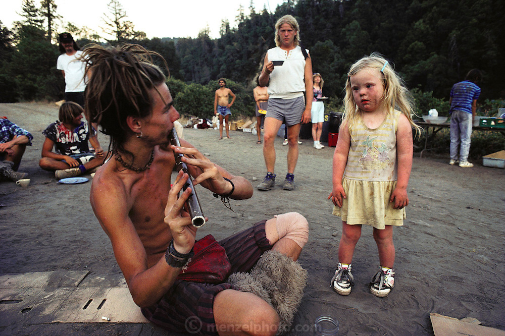 Base Camp at Redwood Summer, a conglomeration of environmental activists who camped out near Willow Creek, California, USA, to protest excessive logging during the summer of 1990.