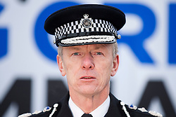 © Licensed to London News Pictures. 08/02/2012. LONDON, UK. Metropolitan Police Service commissioner Bernard Hogan Howe is seen at an Operation Trident press call in Trafalgar Square. Operation Trident, is a Metropolitan Police Service initiative set up to focus on gang and black on black crime. Photo credit: Matt Cetti-Roberts/LNP