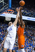 Kentucky forward Isaac Humphries blocks a shot by Florida center John Egbunu in the second half.<br /> <br /> The University of Kentucky hosted the University of Florida, Saturday, Feb. 06, 2016 at Rupp Arena in Lexington .