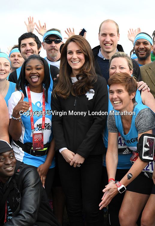 Prince William, Duke of Cambridge and Catherine, Duchess of Cambridge meet Heads Together runners at the pre-race reception ahead of the 2017 Virgin Money London Marathon at the Blue Start, Shooters Hill Road, Blackheath.<br /> The Virgin Money London Marathon, 23rd April 2017.<br /> <br /> Photo: Karwai Tang for Virgin Money London Marathon<br /> <br /> For further information: media@londonmarathonevents.co.uk