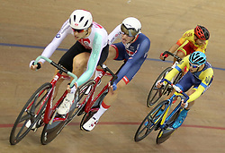 Great Britain's Oliver Wood (second left) during the Mens 40km Points Race during day four of the 2018 European Championships at the Sir Chris Hoy Velodrome, Glasgow.