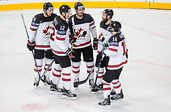 Nate Mackinnon of Canada, Colton Parayko of Canada,   Mark Scheifele of Canada, Ryan O Reilly of Canada and Mitch Marner of Canada celebrate after scoring fifth goal during the 2017 IIHF Men's World Championship group B Ice hockey match between National Teams of Canada and Norway, on May 15, 2017 in AccorHotels Arena in Paris, France. Photo by Vid Ponikvar / Sportida