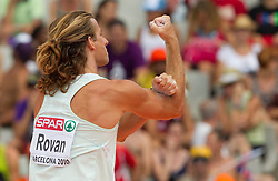 Jurij Rovan of Slovenia salutes to the spectators after he jumped 5.30m in the Mens Pole Vault Qualifying during day three of the 20th European Athletics Championships at the Olympic Stadium on July 29, 2010 in Barcelona, Spain.  (Photo by Vid Ponikvar / Sportida)