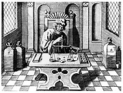 Assayer testing samples of gold and silver. From 1683 English edition of Lazarus Ercker 'Beschreibung allerfurnemisten mineralischen Ertszt' of 1580. Copperplate engraving. New plates with numbers rather than letters, but process faithfully copied.