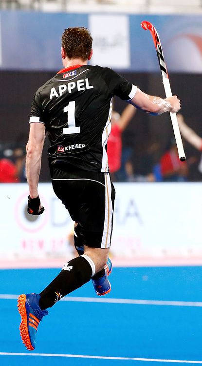 Odisha Men's Hockey World League Final Bhubaneswar 2017<br /> Match id:21<br /> India v Germany<br /> Foto: keeper Mark Appel (Ger) scored 1-1<br /> WORLDSPORTPICS COPYRIGHT KOEN SUYK