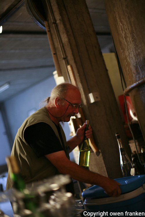 Muscadet winemaker Michel Brtegeon, Les Guisseaux, Gorges.Photograph by Owen Franken