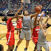 HARTFORD, CONNECTICUT- DECEMBER 19:  Gabby Williams #15 of the Connecticut Huskies pulls in a rebound while assisted by team mate Kia Nurse #11 of the Connecticut Huskies and challenged by Alexa Hart #22 of the Ohio State Buckeyes and Sierra Calhoun #4 of the Ohio State Buckeyes during the UConn Huskies Vs Ohio State Buckeyes, NCAA Women's Basketball game on December 19th, 2016 at the XL Center, Hartford, Connecticut (Photo by Tim Clayton/Corbis via Getty Images)