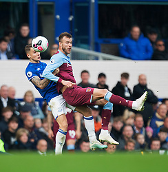 Lucas Digne of Everton (L) and Andriy Yarmolenko of West Ham United in action - Mandatory by-line: Jack Phillips/JMP - 19/10/2019 - FOOTBALL - Goodison Park - Liverpool, England - Everton v West Ham United - English Premier League