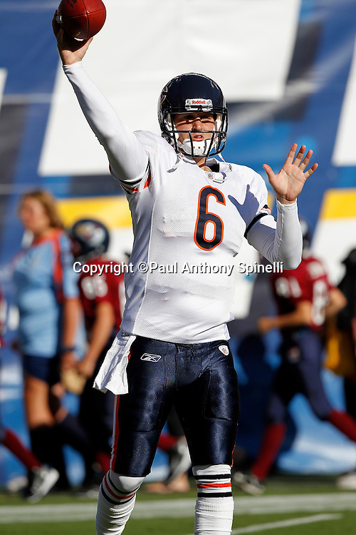 Chicago Bears quarterback Jay Cutler (6) throws a pass during pregame warmups during a NFL week 1 preseason football game against the San Diego Chargers, Saturday, August 14, 2010 in San Diego, California. The Chargers won the game 25-10. (©Paul Anthony Spinelli)