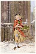 Young girl in rags and wearing a shawl, selling watercress on street in a corner in a snowstorm. Chromolithograph London c1880