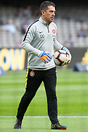 Western Sydney Wanderers goalkeeping coach Davide Del Giovine during warmup at the Hyundai A-League Round 6 soccer match between Melbourne Victory and Western Sydney Wanderers at Marvel Stadium in Melbourne.